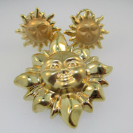 14k Yellow Gold Sun Burst Pendant and Earrings Set with Lever Backs