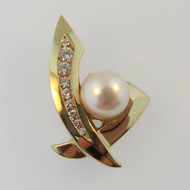 14k Yellow Gold 9mm Pearl with Approx 1/3ct TW Round Brilliant Cut Diamond Accents Omega Pendant