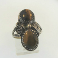 Vtg Sterling Southwestern Ladies Ring 2 Cabochon Tigers Eye Stones Sz 7 Signed K