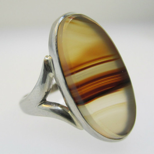 18k White Gold Brown and Tan Agote Ring Size 4 1/2