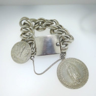 Vtg Sterling Silver Mexico Heavy Link Chain Bracelet w Safety Chain & Religious Medallions