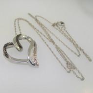 Sterling Silver Black & White Heart Slide Pendant Necklace