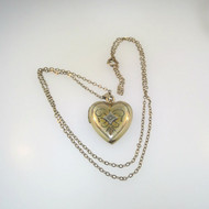 Vintage 12k Gld Filled Heart Locket Necklace Etched Diamond Chip Accent Unsigned