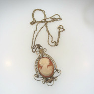 Vtg 12k Yellow Gold Filled Cameo Pendant Filigree Frame Signed D on 12k GF Chain