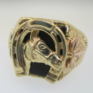 10K Black Hills Gold Horse Horseshoe Black Onyx Ring Size 12.5