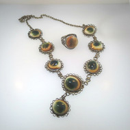 Vtg Sterl Multicolored Cat Eye Operculum Shell Handmade Unsigned Necklace & Ring