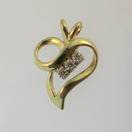 14k Yellow Gold Heart Shaped Pendant with 3 Diamond Accents
