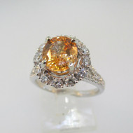 14k White Gold 1.94ct Orange Sapphire Ring With Approx .75ct TW Diamond Accent Halo Ring Size 6