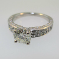 18k White Gold Ritani .97ct Round Brilliant Cut Diamond Ring Size 6 1/2