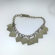 Vintage Silver Tone Petite Unsigned Charm Bracelet Etched 10 Commandments Charms
