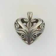 Vintage Sterling Silver Signed 3D Hollow Cutout Symmetrical Design Heart Pendant