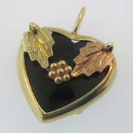 10K Yellow Gold Black Hills Gold Black Onyx Heart Pendant