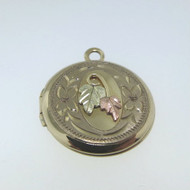 Vtg 14k Gld Filled Blk Hills Gld Leaves Petite Round Locket Empty Faded Markings