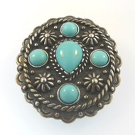 Vtg Sterling Southwestern Detailed Slide Fur Clip with Turquoise Cabochon Stones