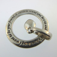 Sterling Silver LA Dangling Heart in Circle Pendant w Expression Friends Rhyme