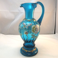 Fenton Artist Signed Handpainted Turq Blue Glass Pitcher New Century Collection