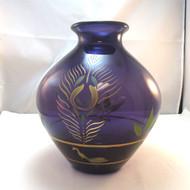 Fenton Centennial Collection 2001 Aubergine Purple HP Peacock Vase Artist Signed