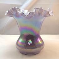 Fenton Iridized Purple Violet Overlay Swirled Feather Optic Ripples Glass Vase