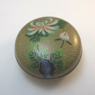 Vintage Round Brass & Blue Ceramic Cloisonne Trinket Box Floral Design Unmarked
