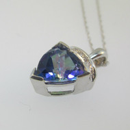 "10k White Gold Trillion Cut Mystic Blue Topaz Pendant 18"" Necklace"