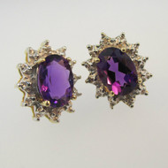 10k Yellow Gold Amethyst Stud Earrings with Diamond Halo Accents
