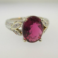 14k White Gold Pink Tourmaline Ring with Diamond Accents Size 6