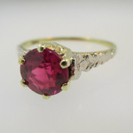 Vintage 10k Yellow Gold Created Ruby Solitaire Ring Size 7 3/4