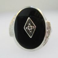 10k White Gold Black Onyx Ring with Diamond Accent Size 7