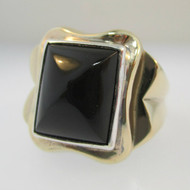 10k Yellow Gold Black Onyx Ring Size 9 3/4
