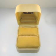 Vintage Ladies Cream Plastic Ring Box with Gold Velvet Bed Empty Made in U.S.A.
