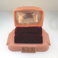 Vintage Ladies Dennison Rose Pink Plastic Double Ring Box Empty Scrolled Design