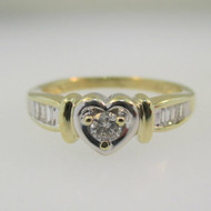 10k  Yellow Gold Heart Shaped Ring with Approx .08ct Round Brilliant Cut Diamond Ring Size 5 1/2