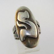 Vintage Sterling Silver Signet Initial S Ring Size 5 3/4