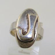Vintage Sterling Silver Signet Initial J Ring Size 3 3/4
