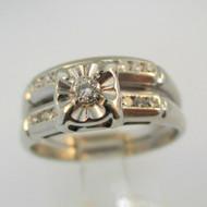 Vintage 14k White Gold Approx .25ct TW Round Brilliant Cut Diamond Wedding Set Size 7