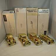 Lot of Four National Motor Museum Mint 1930s Gold Tone Model Cars with Original Boxes (100433CB)