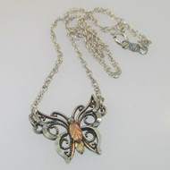 Sterling Silver Black Hills Gold Coleman Company Butterfly Choker Necklace
