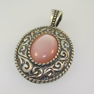 Sterling Silver Carolyn Pollack Pink Mother of Pearl Scroll Pendant