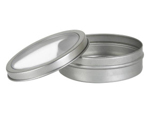 2 Oz Metal tins,  2 ounce round metal tin with clear pvc top
