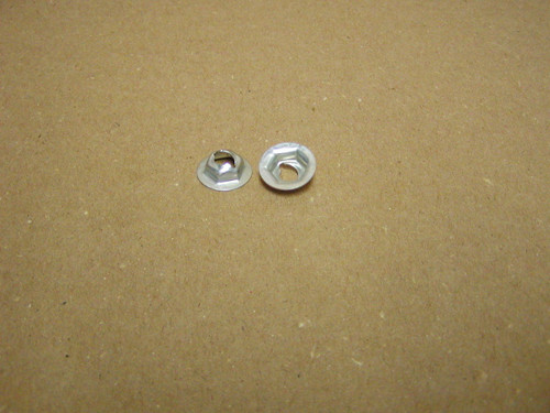 """Thread cutting nuts are found in multiple uses on the Dodge Trucks, Vans, Town Wagons, and Town Panels.  E3405 fits 1/4 Stud Size has 11/16"""" Washer O.D with a 7/16"""" Hex"""