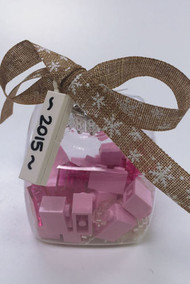Custom Lego® 2015 Christmas Holiday Ornament - Pink Bricks