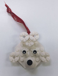 Custom Lego® Christmas Holiday Ornament - White Dog