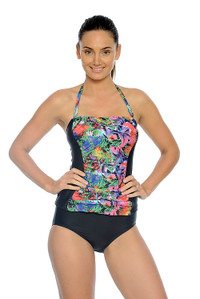 Tropical Garden Ruched Bandeau Tankini with Removable Straps (pant sold seperately)