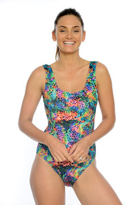 Neon Leopard Chlorine Resistant One Piece Swimsuit.