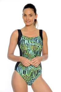 Beach Safari Ruched One Piece Swimsuit: With shelf bust support and ruched tummy control