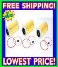 3 Sea Doo 4-TEC Oil Filters & O-Ring Kits RXP RXT GTX GTI RXP-X RXT-X 2002-2012 (006-560-(3)- Rings)