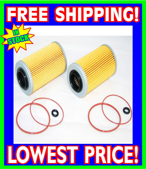 2 Sea Doo 4-TEC Oil Filters & O-Ring Kits RXP RXT GTX GTI RXP-X RXT-X 2002-2012 (006-560-(2)-Rings)
