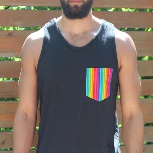 Black Gay Pride Rainbow Tank for Men
