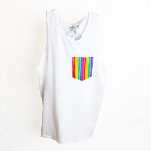 Gay Pride Rainbow Tank Top White