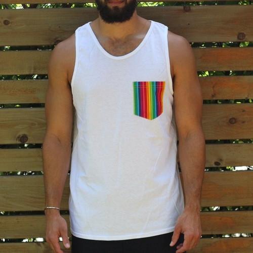 White Gay Pride Rainbow Tank for Men